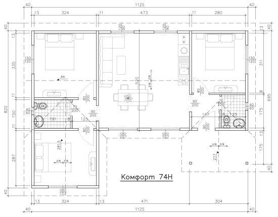 Схема на Комфорт 74H